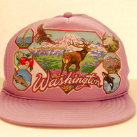 80s Vintage Snapback hat / Washington State Trucker Hat / Lavender Purple Baseball Cap / Hipster Bald Eagle Orca Deer Mesh Hat PNW Snap Back