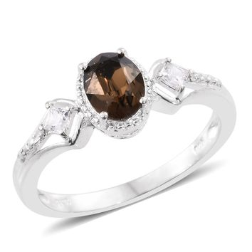 Sterling Silver Ring Made with SWAROVSKI Smoked Topaz Crystal