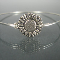 Silver Sunflower Bangle Bracelet - Stacking Bangles - Sunflower Jewelry - Nature Jewelry - Sunflower Bracelet - Flower Jewelry