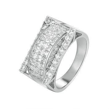 Men's Iced Out 3D Solitaite Designer Baguette Ring