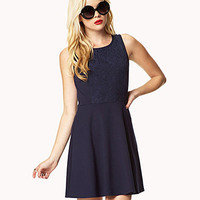 Lace-Paneled A-Line Dress | FOREVER 21 - 2039291359