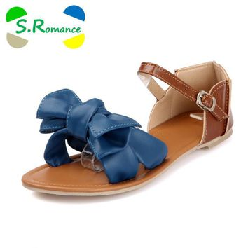 S.Romance New Arrival Big Size 34-45 Colorful Fashion Summer Sweet Women Flat Sandals