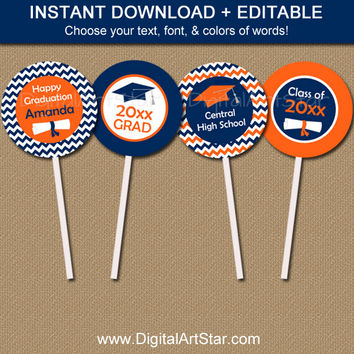 Graduation Cupcake Toppers - Graduation Party Decorations - Graduation Party Ideas - Graduation Printables - Orange & Navy Cupcake Toppers