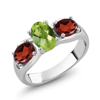 1.85 Ct Oval Checkerboard Green Peridot Red Garnet 925 Sterling Silver Ring