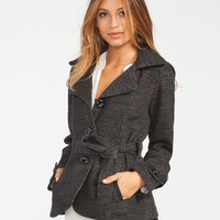 Full Tilt Womens Belted Trench Coat Black/Grey  In Sizes