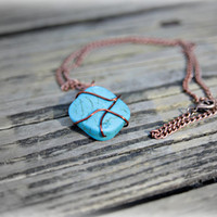 Turquoise copper wire wrapped necklace jewelry pendant semi precious bead minimalist style fashion boho summer blue unique