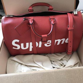 Louis Vuitton X Supreme High Quality Leather Letter Print Zipper Duffel Bag Luggage Travel Bags Tote I