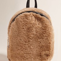 Faux Fur Mini Zip Backpack