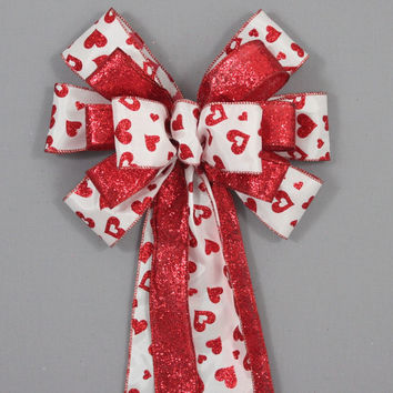 Red Sparkle Heart Valentine's Day Bow