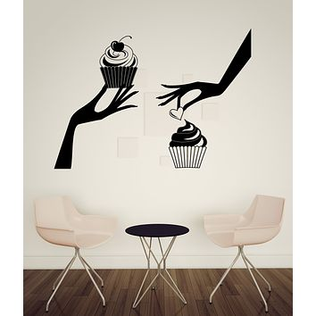 Large Vinyl Decal Hands with Cupcakes Wall Sticker Bakery Cafe (n1021)