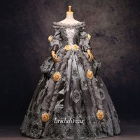 Grey 18th Century Rococo Baroque Cosplay Costume Marie Antoinette Gown Dresses