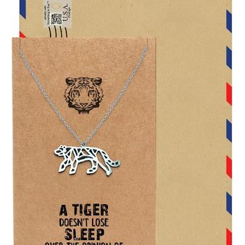 Beatrice Origami Tiger Necklace, Jewelry Gift for Women, Inspirational Gift with Greeting Card