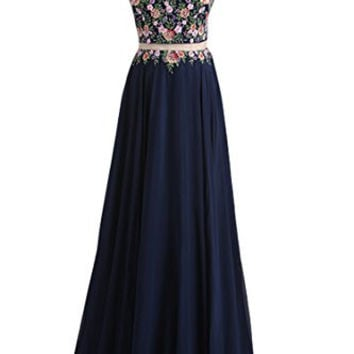 Lucysprom Two-Piece Long Prom Dress With Applique Elegant Party Dresses