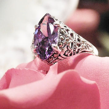 Vintage Amethyst Ring Art Deco Marquise Cut Faceted Amethyst Solitaire 2.45 CT with Marcasites set in Sterling Silver 925 Size 6 3/4 Ring