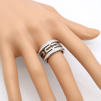 Fashion Hollow vintage pattern double round crystal Ring stainless steel jewelry, lord of the ring women bag Exquisite bijoux