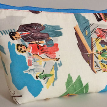 Vinyl Vacation Cosmetic Bag Makeup Bag Gadget Bag