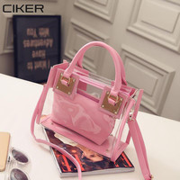 CIKER Transparent Bags Handbags Women Summer Beach Bag Candy Jelly Clear Plastic Bag  Girls Waterproof Shoulder Crossbody Bag
