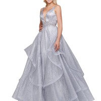 Mac Duggal Prom - Plunging V Neck Silver Cascading Layered Ball Gown