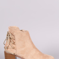 Liliana Suede Back Lace-Up Chunky Heeled Ankle Boots