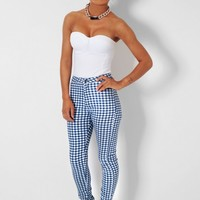 Checkmate Blue & White Check High Waist Trousers | Pink Boutique