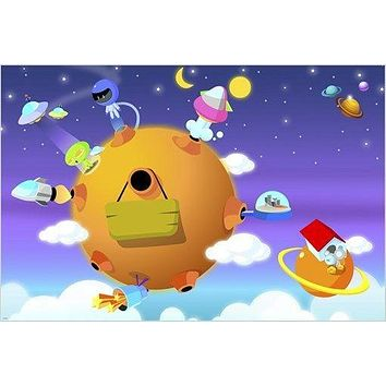 KIDS CARTOON POSTER colorful outer space IMAGINATIVE planets stars 24X36 HOT