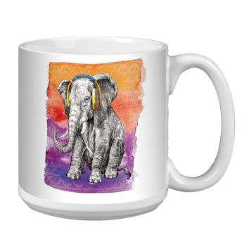 Boho Elephant Jumbo Mug - Premium 20 oz Ceramic Coffee Tea  & Soup Mug