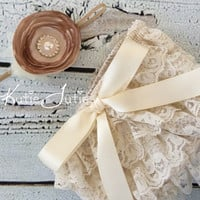 Cream & Beige Diaper Cover and Headband- bloomers, newborn, baby girl, toddler, birthday, cake smash, ivory, photo prop
