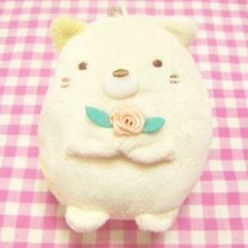 San-X Sumikko Gurashi Cat Neko Rose Plush / Japan Amusement Game Cute Doll 2016