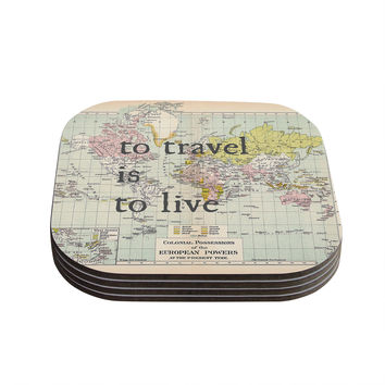 "Catherine Holcombe ""To Travel Is To Live"" Color Map Coasters (Set of 4)"