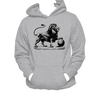 Lion Illustration Unisex Hoodie, Playful Lion, Sporty, Athletic Hoodie