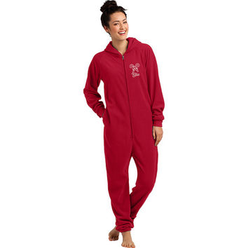 Personalized Candy Cane Fleece Hooded Onesuit,  Christmas Onesuit,  Adult Candy Cane Pajamas, Adult Christmas Onesuit,