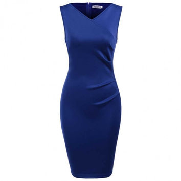 New Women Casual V-Neck Sleeveless Solid Pleated Business Pencil Dress