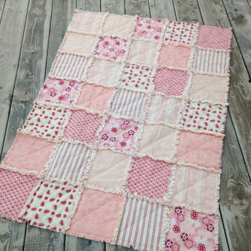 Baby Girl Rag Quilt, Crib Quilt, Toddler Quilt, Nursery Quilt,Riley Blake Raspberry Parlour, Pink, Cream, 35 X 48. Handmade, Ready to Ship