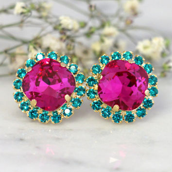 Fuchsia Earrings,Swarovski Hot Pink Earrings,Dark Pink Blue teal Swarovski Stud Earrings,Bridesmaids Earrings, Fuchsia Turquoise Earrings