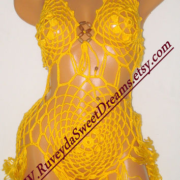 Yellow Skirt Swimsuit Sexy Yellow Skirt Monokini Crochet Swimwear Summer Fashion Two - Piece Bikini Women Beach Wear Women Fashion Crochet