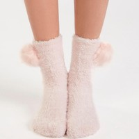 Oysho Cute Velvet Pom Warm floor socks