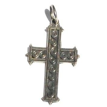 Sterling Silver Oxidized Bali Celtic double Spiral Cross Pendant