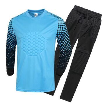 Hot Sale Breathable Quick Dry Boys Soccer Training Suit Kids Goalkeeper Jersey Set Lon