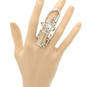 Clear Layered Metal Cross Armour Knuckle Ring