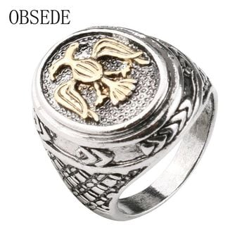 OBSEDE New Punk Gold Bird Ring Vintage Military Ring Silver Color Alloy Jewelry Gothic Cool Signet Wedding Party Gift