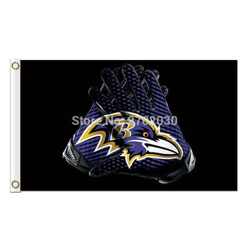 Gloves Design Baltimore Ravens Flag Football Team Super Bowl Champions 3ft X 5ft 100D Polyester Printed Banner