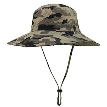 High quality Summer Fishing Outdoor Cap Canvas Woodland Camouflage Large Brimmed Hat For Unisex#20