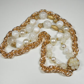 Vintage Two Strand Statement Necklace Large Bauble Goldtone White Faux Pearl Large Size Beads Ornate Clasp Signed 63 Chunky Chain Necklace