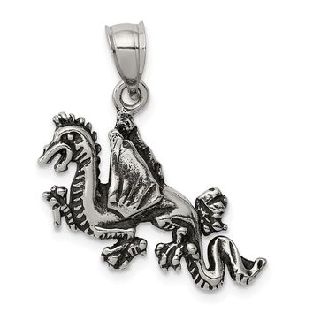 925 Sterling Silver Antiqued Flying Dragon Shaped Pendant