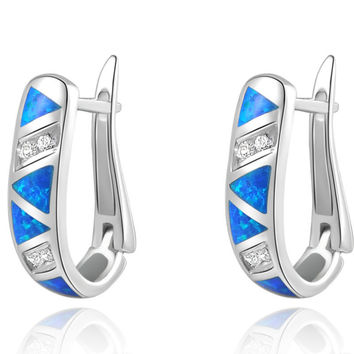 Australian Blue Opal Sapphire 925 Solid Sterling Silver White Gold Plated Hoop Earrings