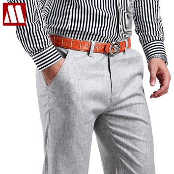 Men Summer Linen Pants Cotton Casual Trousers, Breathable, High Quality Men's Formal Pants