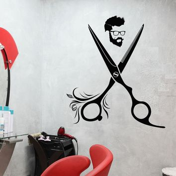 Vinyl Wall Decal Hairdresser Hipster Barbershop Hair Hairstyle Salon Stickers Unique Gift (1888ig)
