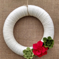 Christmas felt flower wreath, yarn felt flower wreath, mantel decor, door decor, red green, holiday wreath, large 14 inch, READY TO SHIP