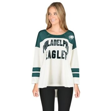 Women's White Philadelphia Eagles Hail Mary 3/4 Sleeve T-Shirt
