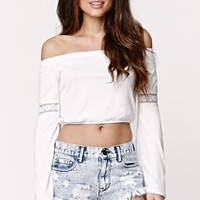 LA Hearts Off Shoulder Bell Sleeve Top - Womens Tee